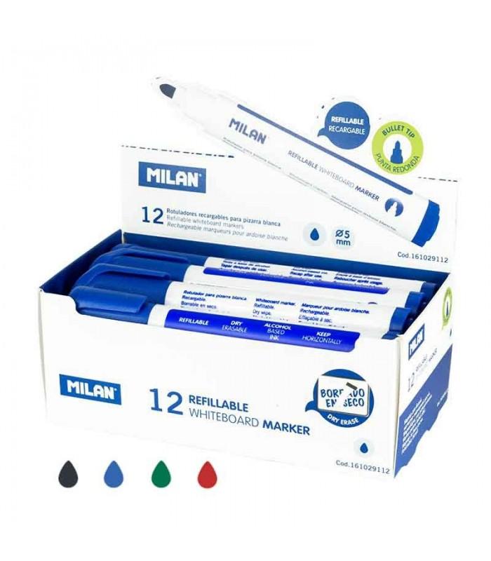 Caja 12 rotuladores Milan recargables azules