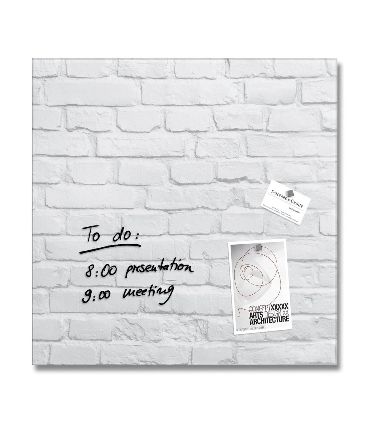 Mur Effet Brique Blanche tableau blanc magnétique à effet de mur